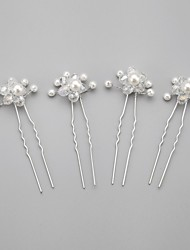 cheap -Crystal Imitation Pearl Fabric Alloy Tiaras Hair Pin 1 Wedding Special Occasion Party / Evening Headpiece