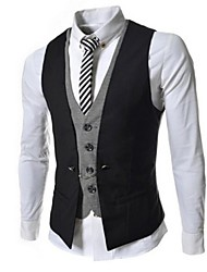 cheap -Men's Sleeveless Formal Jacket,Cotton / Polyester Solid Black / Brown / Red / White / Gray