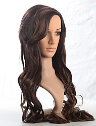 Capless Long Synthetic Brown Wavy Hair Wig