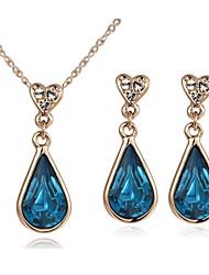 abordables -Juego de Joyas Cristal Cristal Gota Plata Dorado Collares Pendientes Para Boda Fiesta Casual Regalos de boda