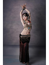 cheap -Belly Dance Outfits Women's Performance Cotton Polyester Velvet Leopard Buttons Pattern / Print Copper Coin Tassel Dropped