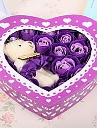 regalo di giorno 20pcs romantiche rose amore sapone fiori di San Valentino con un orso