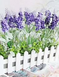 Deep Purple Lavender and 30cm Long White Fence Artificial Flower Home Decoration