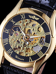cheap -WINNER® Men's Hollow Gold Skeleton Mechanical Leather Band Wrist Watch Cool Watch Unique Watch Fashion Watch