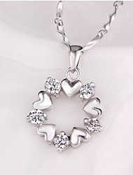economico -Round Sterling Silver CZ Heart Necklace