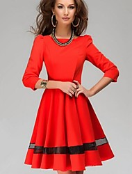 Women's Work Vintage A Line Skater Dress,Solid Round Neck Above Knee 3/4 Length Sleeves Cotton Polyester Spring Fall Mid Rise Inelastic