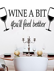 Wall Stickers Wall Decals, WINE A BIT PVC Wall Stickers