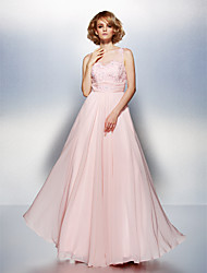 A-Line Scoop Neck Floor Length Chiffon Prom Dress with Beading Appliques Ruching by TS Couture®