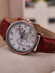 cheap -Women's Wrist Watch Quartz Casual Watch PU Band Analog Vintage Fashion World Map Black / Red / Brown - Black Brown Red One Year Battery Life / Tianqiu 377