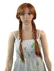 mulheres cosplay desenhos animados do longo anna princesa calor peruca sintética fibra resistente peruca de cabelo partido barato