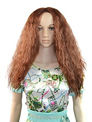 parrucca sintetica afro lunghi capelli soffici al calore marrone fibra resistente a basso costo partito cosplay parrucca di capelli