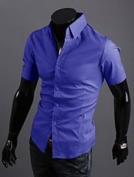 billige Nyheter-Bomull Polyester Kortermet Skjorte Ensfarget Sommer Fritid Daglig Arbeid Herre