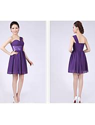 cheap -Short/Mini Bridesmaid Dress - Grape A-line / Princess One Shoulder
