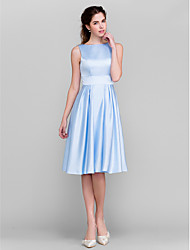 A-Line Princess Bateau Neck Knee Length Satin Bridesmaid Dress with Bow(s) Pockets Sash / Ribbon by LAN TING BRIDE®