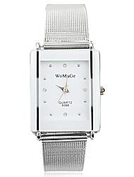 Damen Kleideruhr Modeuhr Armbanduhr Quartz Legierung Band Silber Weiß Schwarz