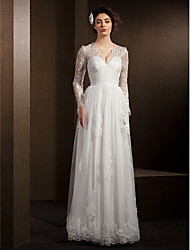 Linha A Decote V Longo Renda Tule Vestido de casamento com Miçangas Renda Faixa / Fita de LAN TING BRIDE®