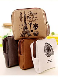 Memory of Paris Cotton And Linen Change Purse(1 PCS Random Color)