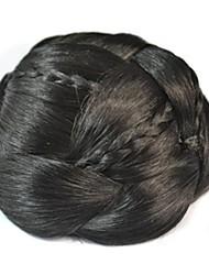 Preto Natural Crespo Cacheado Bolo de cabelo Updo Entrançado Coques Com Presilha Cabelo Sintético Pedaço de cabelo Alongamento