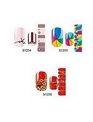 14pcs tegneserie nail art stickers S1 serie no.1254-1256 (assorteret mønster)