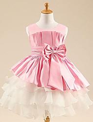 Недорогие -принцесса чай длина цветок девушка платье - тюль без рукавов совок шея с лентой по ydn