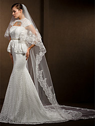 Недорогие -Свадебные вуали Два слоя Фата для венчания Кружевная кромка 102,36 в (260cm) Тюль Белый Цвет слоновой кости
