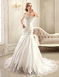 Mermaid / Trumpet Sweetheart Chapel Train Satin Wedding Dress with Beading Appliques Side-Draped by Ed Bridal