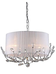 cheap -Modern Crystal Chandelier With Fabric Shade Max 4*40W