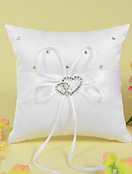 cheap -Ring Pillow In Satin With Ribbon And Double Heart Rhinestone
