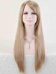 economico -Parrucche sintetiche Liscio Oro Taglio asimmetrico Capelli sintetici Attaccatura dei capelli naturale Oro / Biondo Parrucca Per donna Lungo Senza tappo