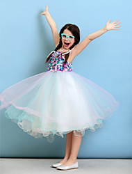 Ball Gown Halter Knee Length Tulle Junior Bridesmaid Dress with Flower(s) by LAN TING BRIDE®