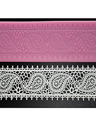 cheap -FOUR-C Cake Supplies Lace Silicone Mat Lace Mold for Sugar Craft,Silicone Mat Fondant Cake Tools Color Pink