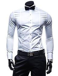 Masculino Camisa Formal Cor Solida Manga Comprida Algodão / Poliéster Preto / Branco