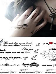 Outros Tatuagem Adesiva - Non Toxic/Lombar/Waterproof - para Criança/Feminino/Masculino/Adulto/Adolescente - de Papel - Preta -