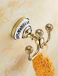 Robe Hook / Ti-PVD Brass Crystal Ceramic /Neoclassical