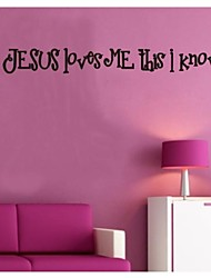 cheap -Wall Stickers Wall Decals, Jesus Loves Me PVC Wall Stickers