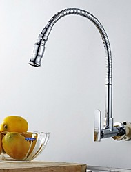 Wall Type Arbitrary Rotating Chrome Plated Brass Kitchen Sink Faucet - Silver