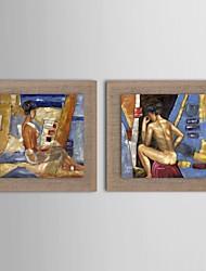 pintura a óleo moderna set caráter abstrato de 2 pintados à mão de linho natural, com quadro esticado