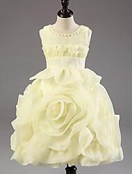cheap -Princess Tea Length Flower Girl Dress - Chiffon Sleeveless Jewel Neck by Hua Cheng fashion