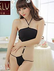 preiswerte -Damen Besonders sexy Teddy Nachtwäsche einfarbig Polyester Schwarz