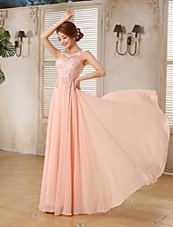 cheap -A-Line Illusion Neckline Floor Length Chiffon Prom Formal Evening Holiday Family Gathering Dress with Lace by ARMK