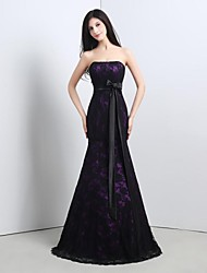 cheap -Mermaid / Trumpet Strapless Floor Length Lace Formal Evening Dress with Lace