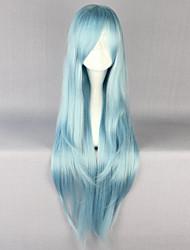 abordables -Pelucas sintéticas Recto Corte a capas Pelo sintético Entradas Naturales Azul Peluca Mujer Larga Sin Tapa
