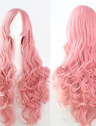 abordables -Pelucas sintéticas Rizado Rosa Corte asimétrico Pelo sintético Entradas Naturales Rosa Peluca Mujer Larga Sin Tapa