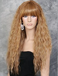 Donna Parrucche sintetiche Lungo Dorato Lino parrucca del costume Parrucca di Halloween Parrucca di carnevale costumi parrucche