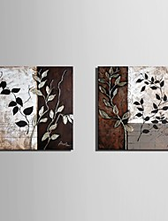 cheap -E-HOME® Stretched Canvas Art Leaf Pattern Decorative Painting Set of 2