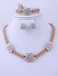 caliente venta africano oro rhinestone traje plateado (incluyendo el collar, pendientes, pulsera, anillo) sistemas de la joyería