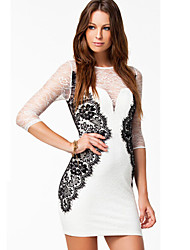 cheap -Women's Street chic Bodycon Dress - Color Block, Lace Patchwork