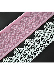 FOUR-C Cake Making Tools Sweet Lace Mat Lace Silicone Mold Color Pink LFM-11