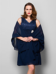 cheap -Sleeveless Chiffon Wedding Party Evening Women's Wrap With Draping Shawls