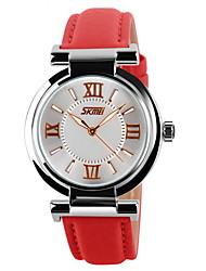 baratos -SKMEI Mulheres Quartzo Quartzo Japonês Relógio de Pulso Relógio Casual Couro Banda Amuleto Casual Fashion Preta Branco Azul Vermelho Rosa